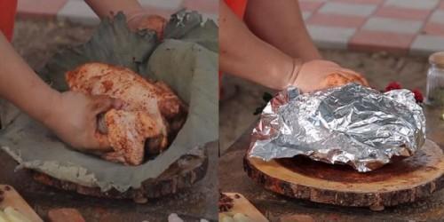 Cách làm gà bọc lá sen nướng cho buổi liên hoan cuối tuần thêm thú vị