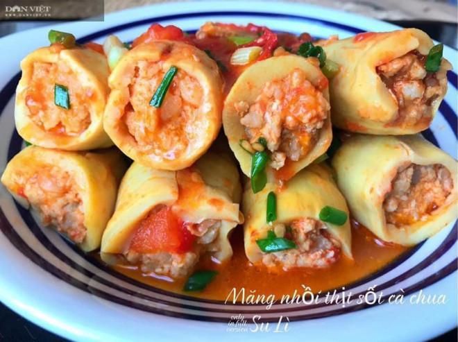 Măng nhồi thịt sốt cà chua, món ăn lạ miệng hấp dẫn cả nhà