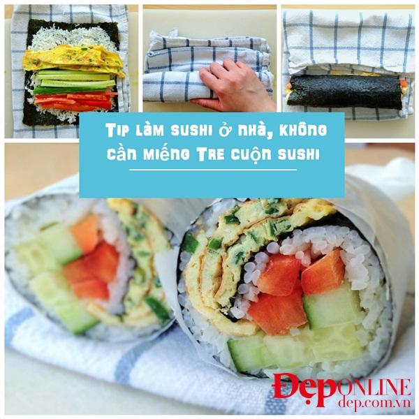 Mẹo làm sushi không cần tấm tre cuộn