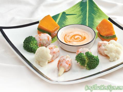 Món tôm hấp rau củ thơm ngon, nhiều chất dinh dưỡng