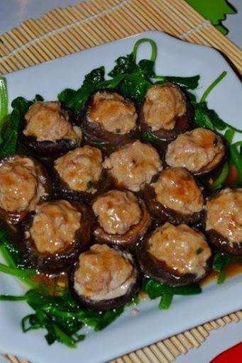 Nấm hương nhồi thịt băm hấp