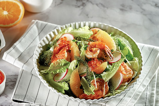 Salad rong nho xốt cam